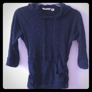 Dark blue cotton and rayon hoodie with 3/4 sleeves